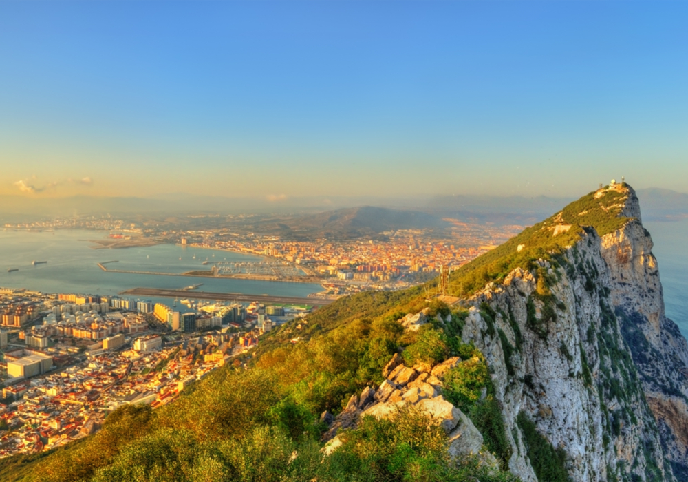 Panorama of the Rock of Gibraltar, a British overseas territory