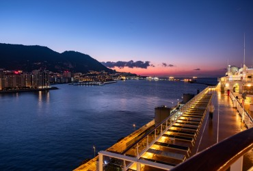 The rock of Gibraltar ashot at sunrise from open deck of cruise liner