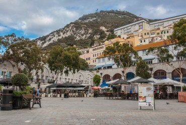 Grand Casemates Square. Landmark lined with numerous pubs, bars and restaurants, Gibraltar, UK